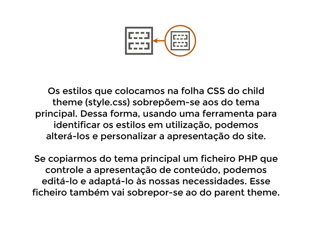Os estilos que colocamos na folha CSS do child ...