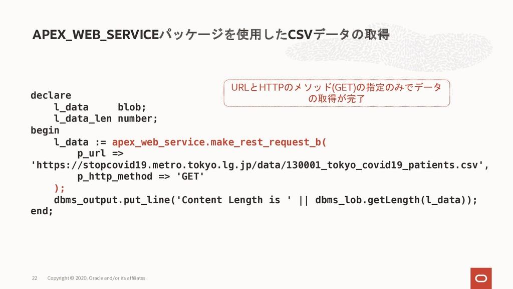 APEX_WEB_SERVICEパッケージを使用したCSVデータの取得 Copyright ©...