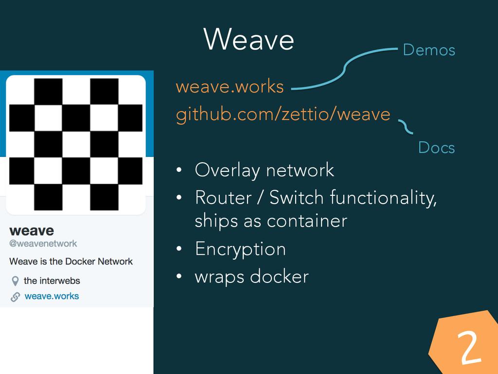Weave weave.works github.com/zettio/weave • Ov...