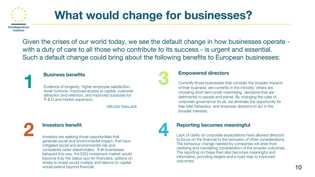 10 What would change for businesses? Given the ...