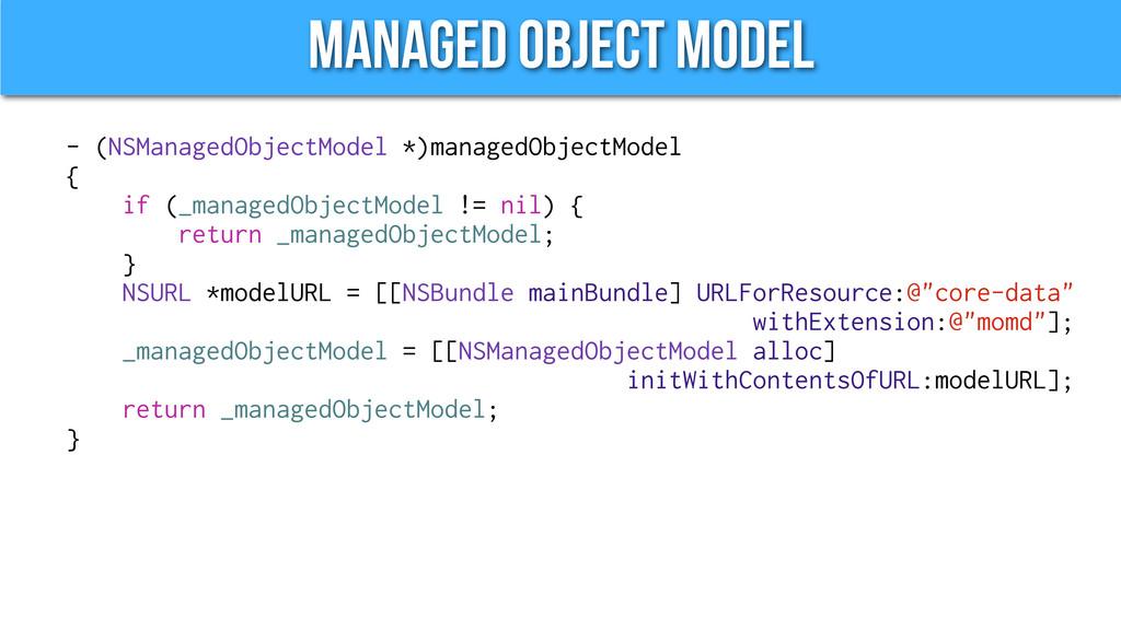 Managed Object Model - (NSManagedObjectModel *)...