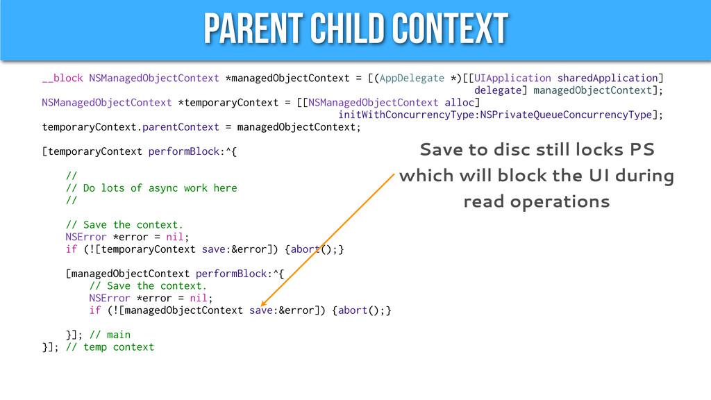Parent Child Context __block NSManagedObjectCon...