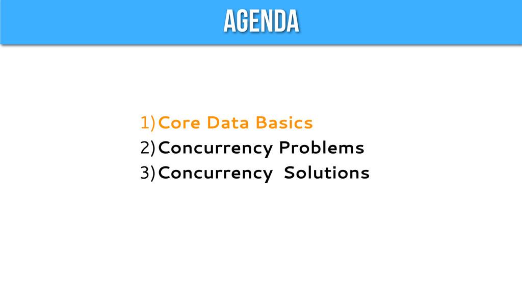 Agenda 1)Core Data Basics 2)Concurrency Problem...