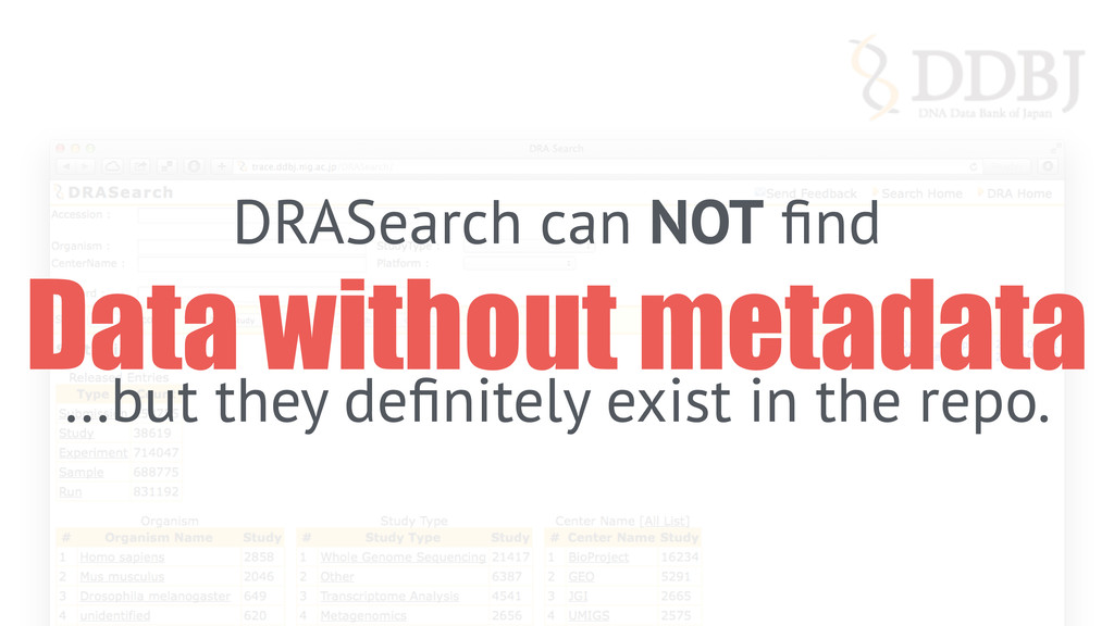 DRASearch can NOT find Data without metadata …bu...