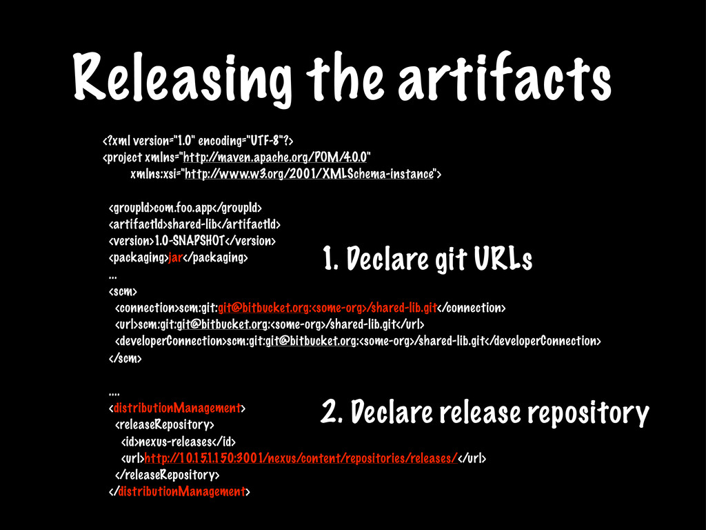 Releasing the artifacts 1. Declare git URLs <?x...