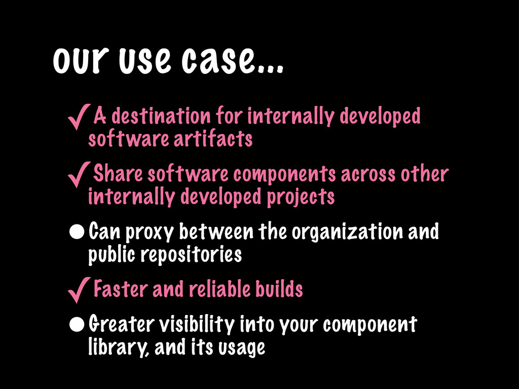 our use case... ✓A destination for internally d...
