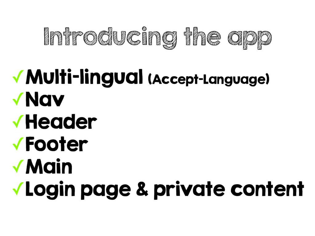 ✓Multi-lingual (Accept-Language) ✓Nav ✓Header ✓...