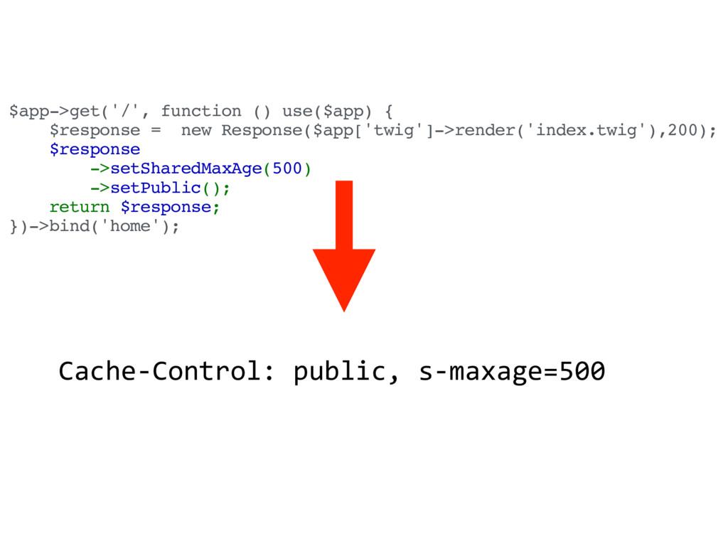 $app->get('/', function () use($app) { $respons...