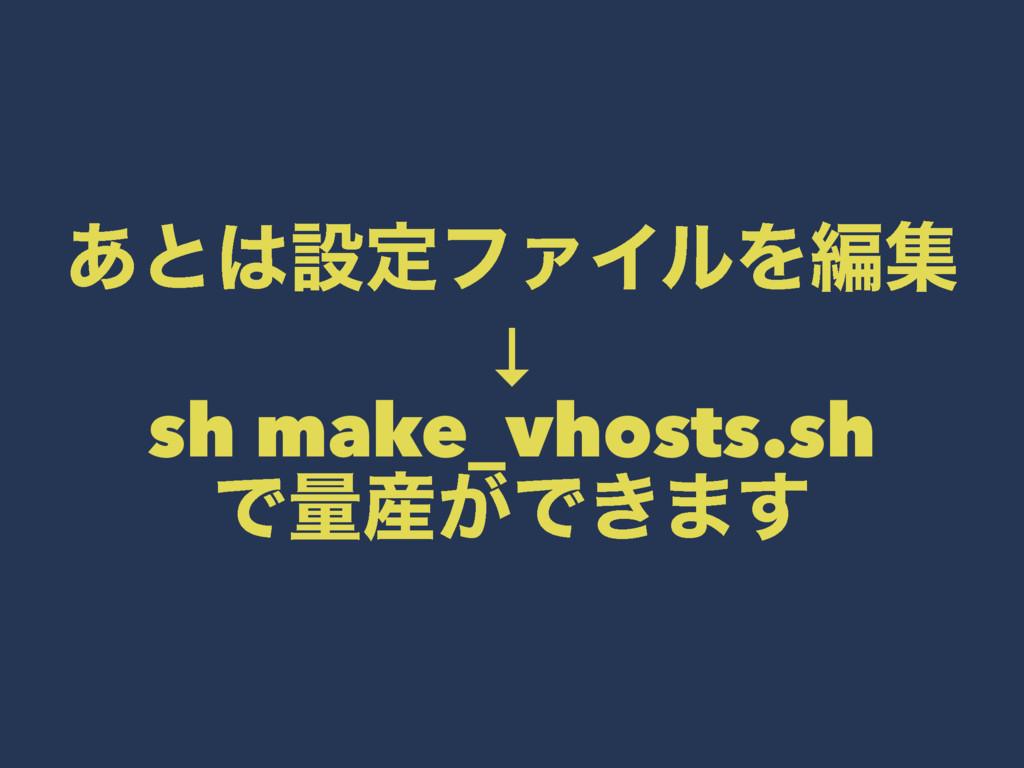 ͋ͱઃఆϑΝΠϧΛฤू ↓ sh make_vhosts.sh Ͱྔ͕Ͱ͖·͢