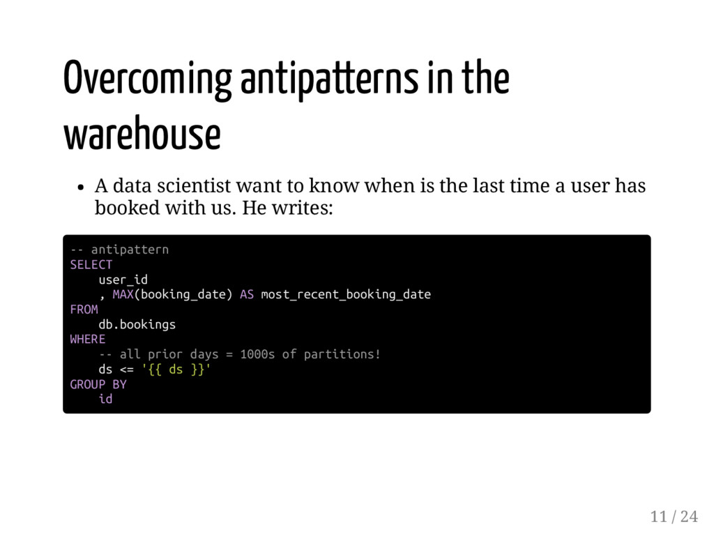 Overcoming antipatterns in the warehouse A data...