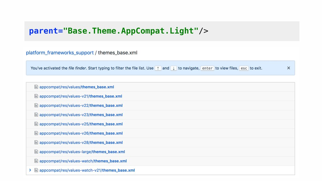 """parent=""""Base.Theme.AppCompat.Light""""/>"""