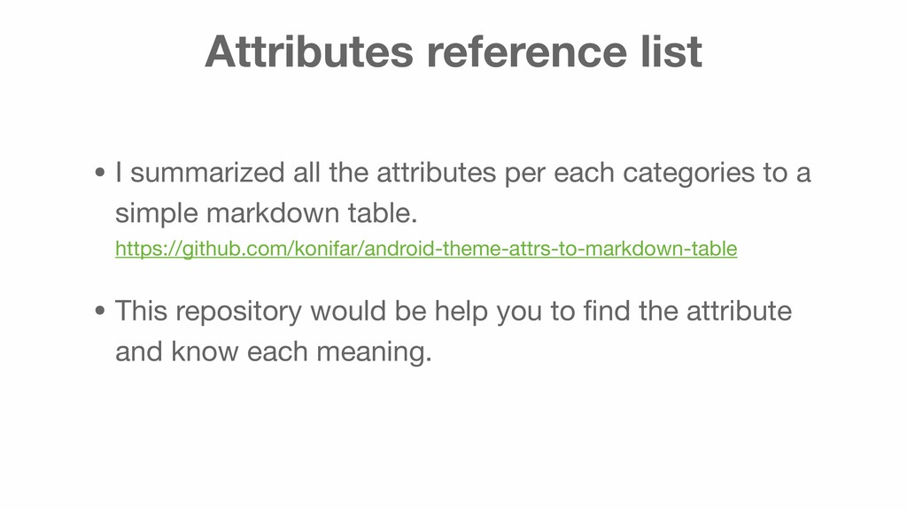 Attributes reference list • I summarized all th...