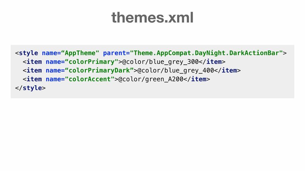 """themes.xml <style name=""""AppTheme"""" parent=""""Theme..."""