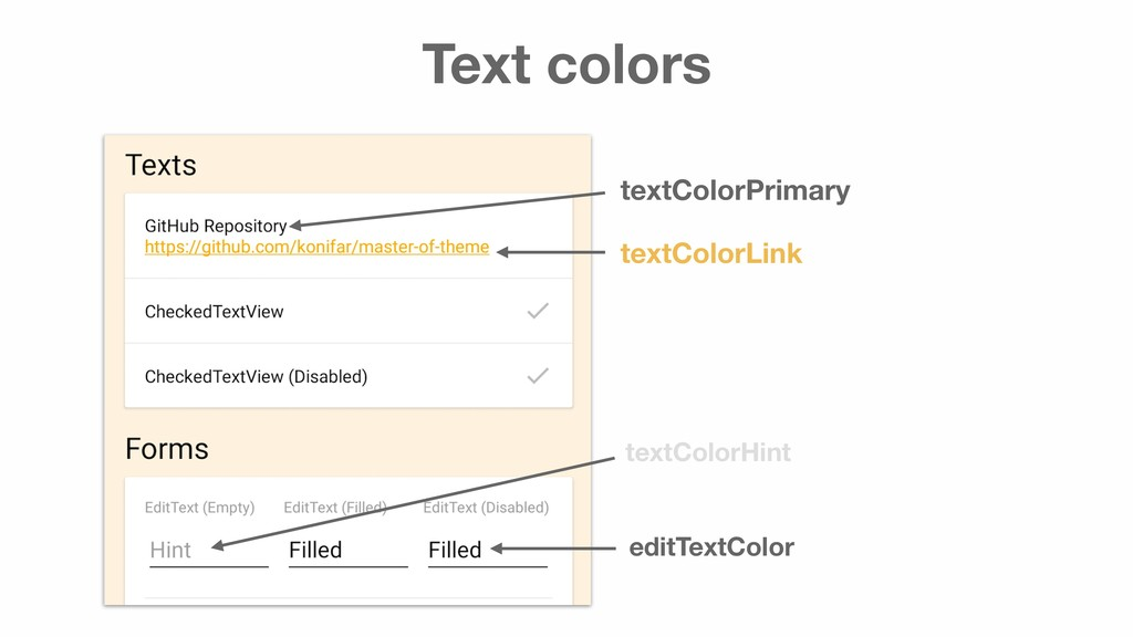 Text colors textColorPrimary textColorLink text...
