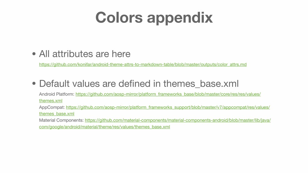 Colors appendix • All attributes are here http...