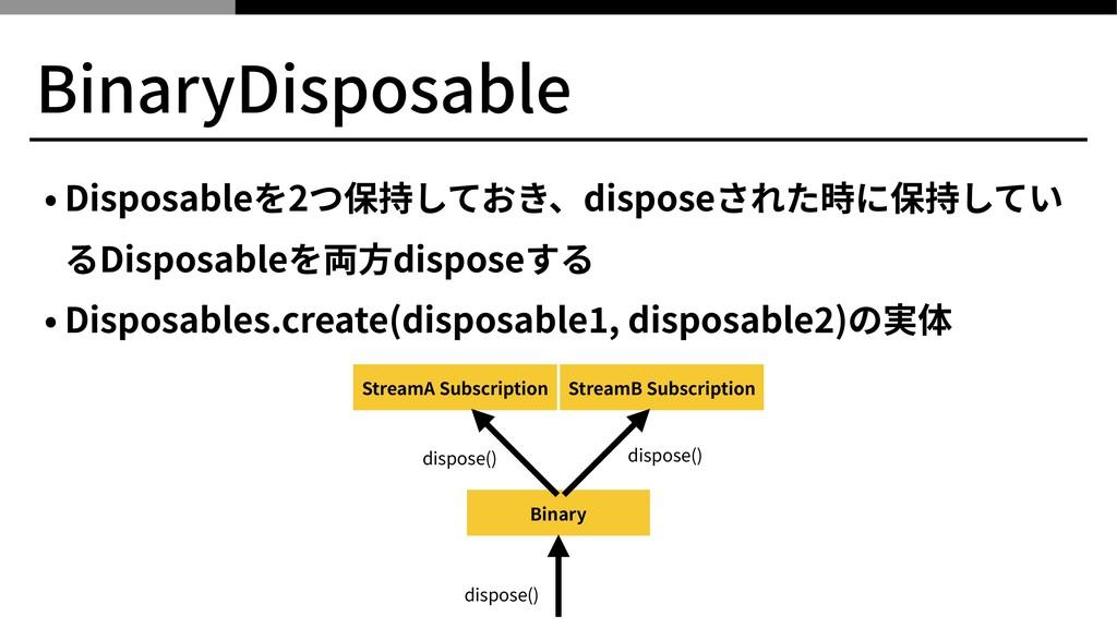 BinaryDisposable • Disposableを2つ保持しておき、disposeさ...