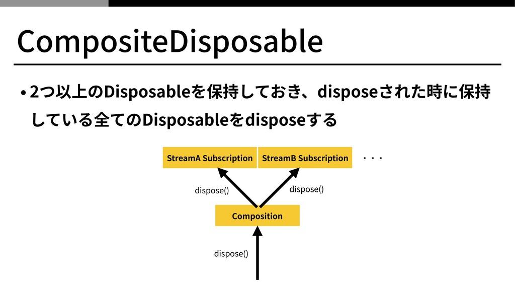 CompositeDisposable • 2つ以上のDisposableを保持しておき、di...