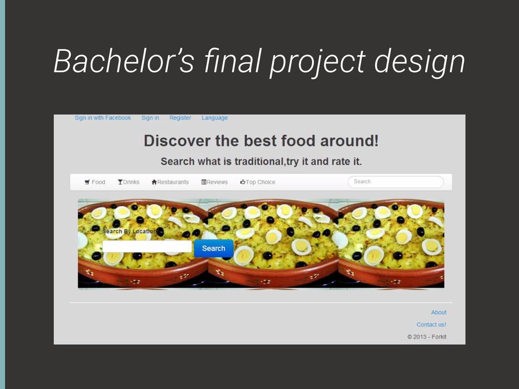 Bachelor's final project design