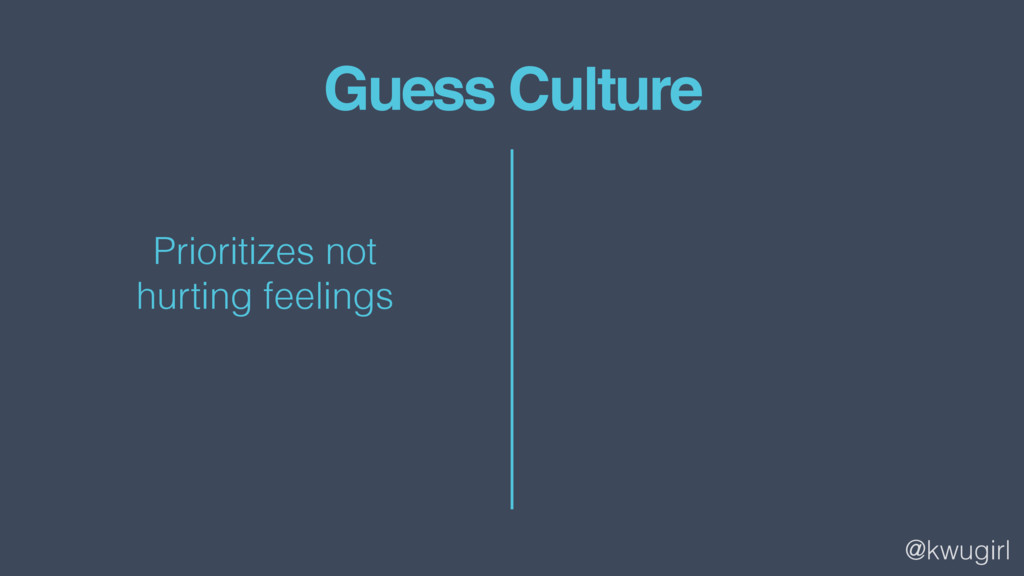 @kwugirl Guess Culture Prioritizes not 