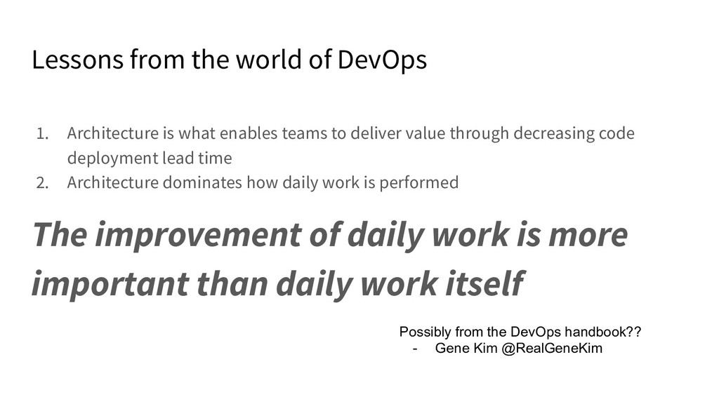 Lessons from the world of DevOps 1. Architectur...