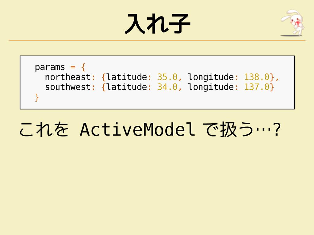 入れ子 params = { northeast: {latitude: 35.0, long...