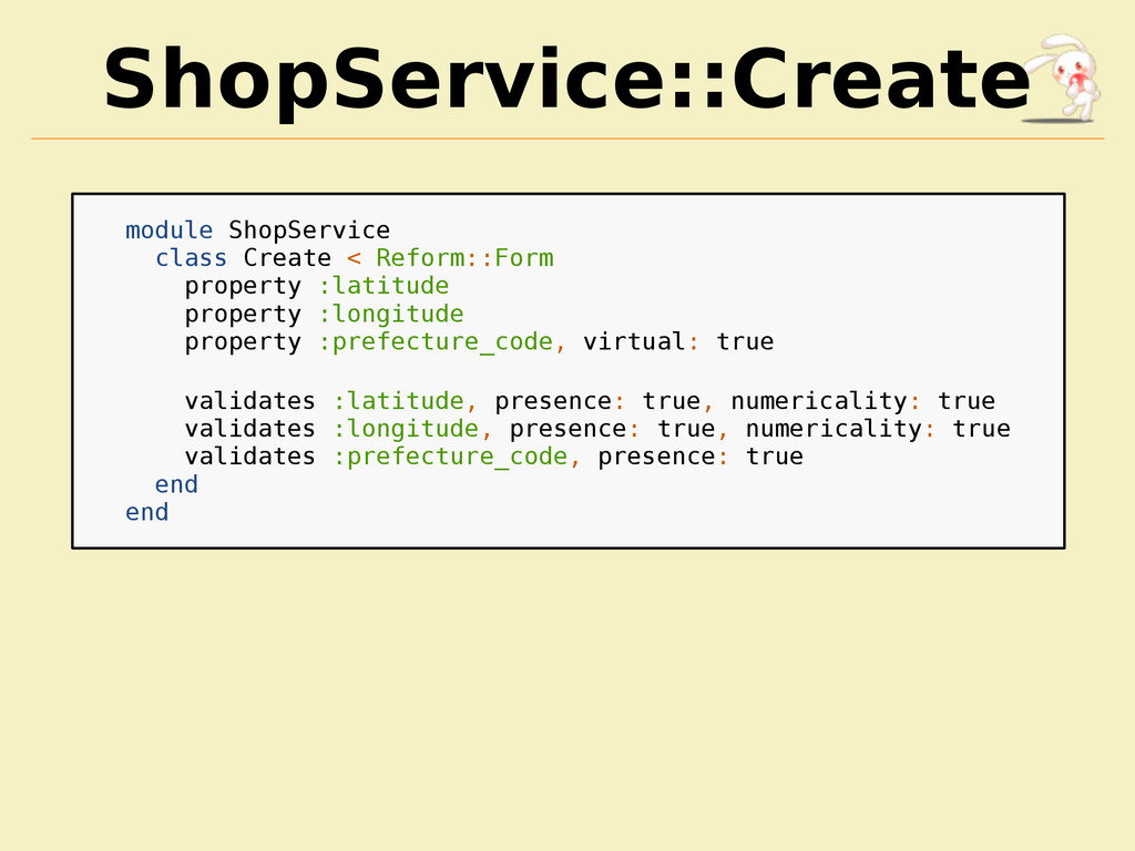 ShopService::Create module ShopService class Cr...