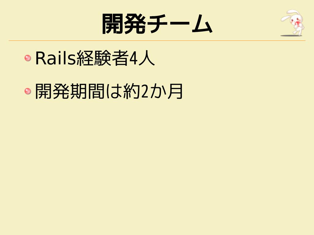 開発チーム Rails経験者4人 開発期間は約2か月