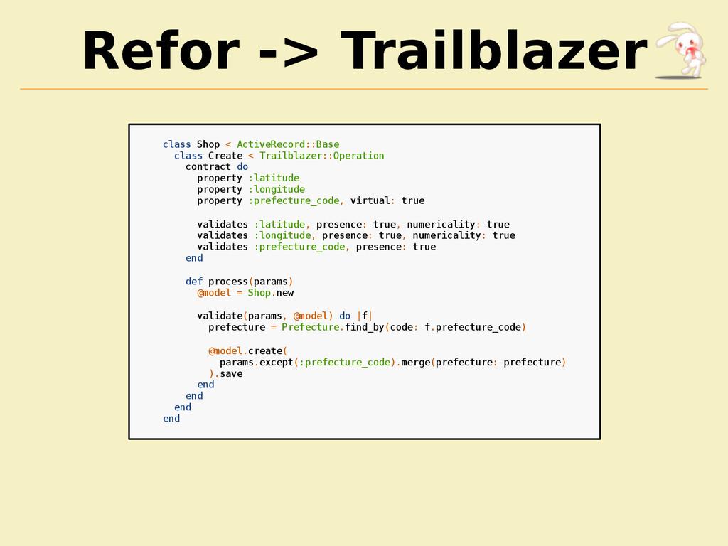 Refor -> Trailblazer class Shop < ActiveRecord:...