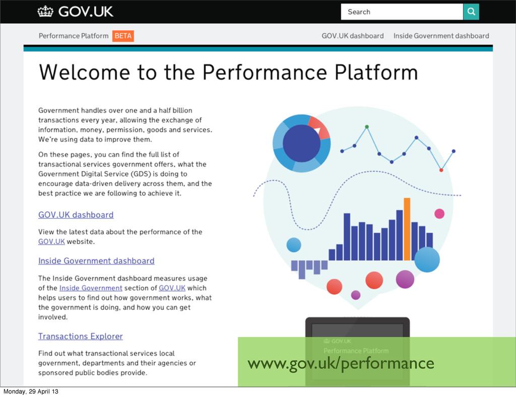 www.gov.uk/performance Monday, 29 April 13
