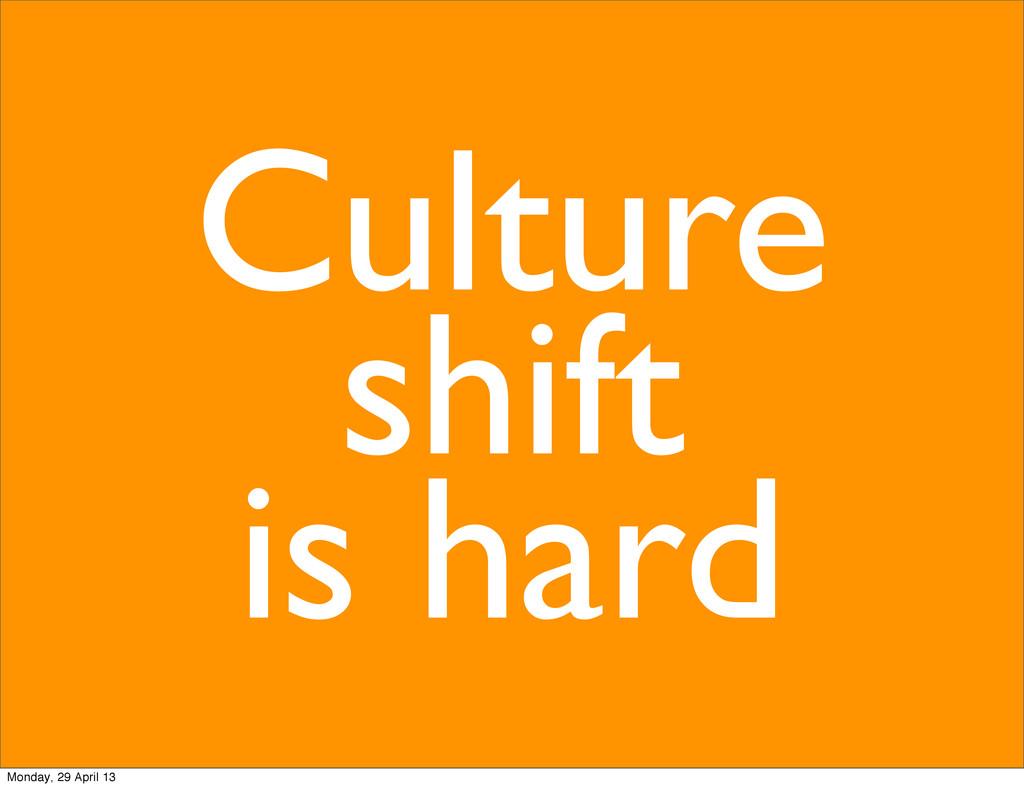 Culture shift is hard Monday, 29 April 13