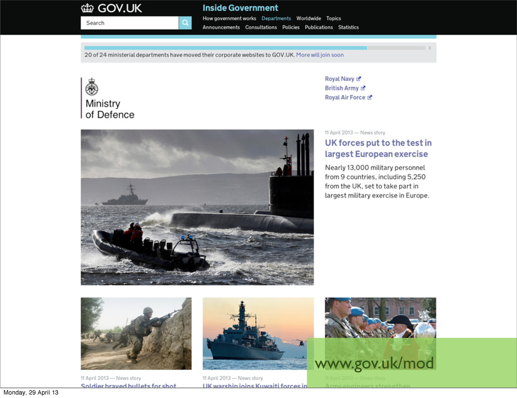 www.gov.uk/mod Monday, 29 April 13