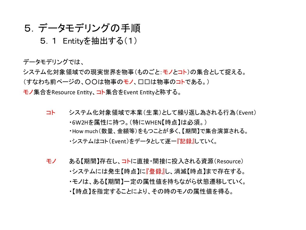 5.データモデリングの手順    5.1 Entityを抽出する(1) データモデリング...