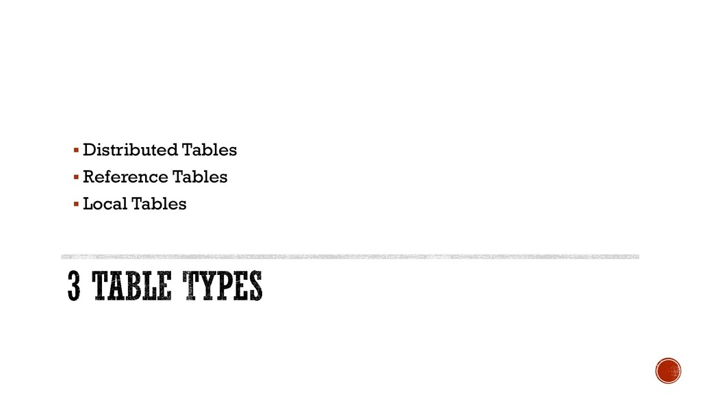 § Distributed Tables § Reference Tables § Local...