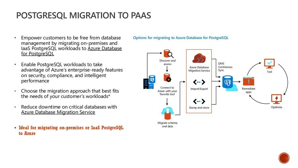 POSTGRESQL MIGRATION TO PAAS • Empower customer...