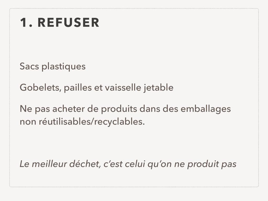 1. REFUSER Sacs plastiques Gobelets, pailles et...