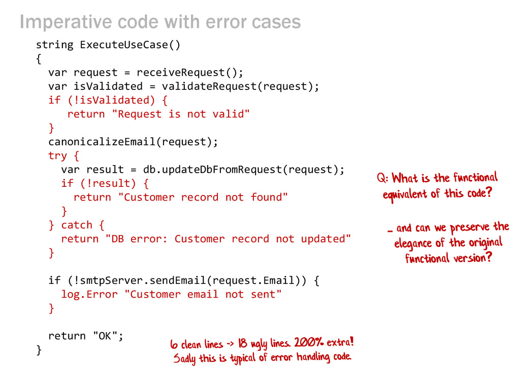Imperative code with error cases string Execute...