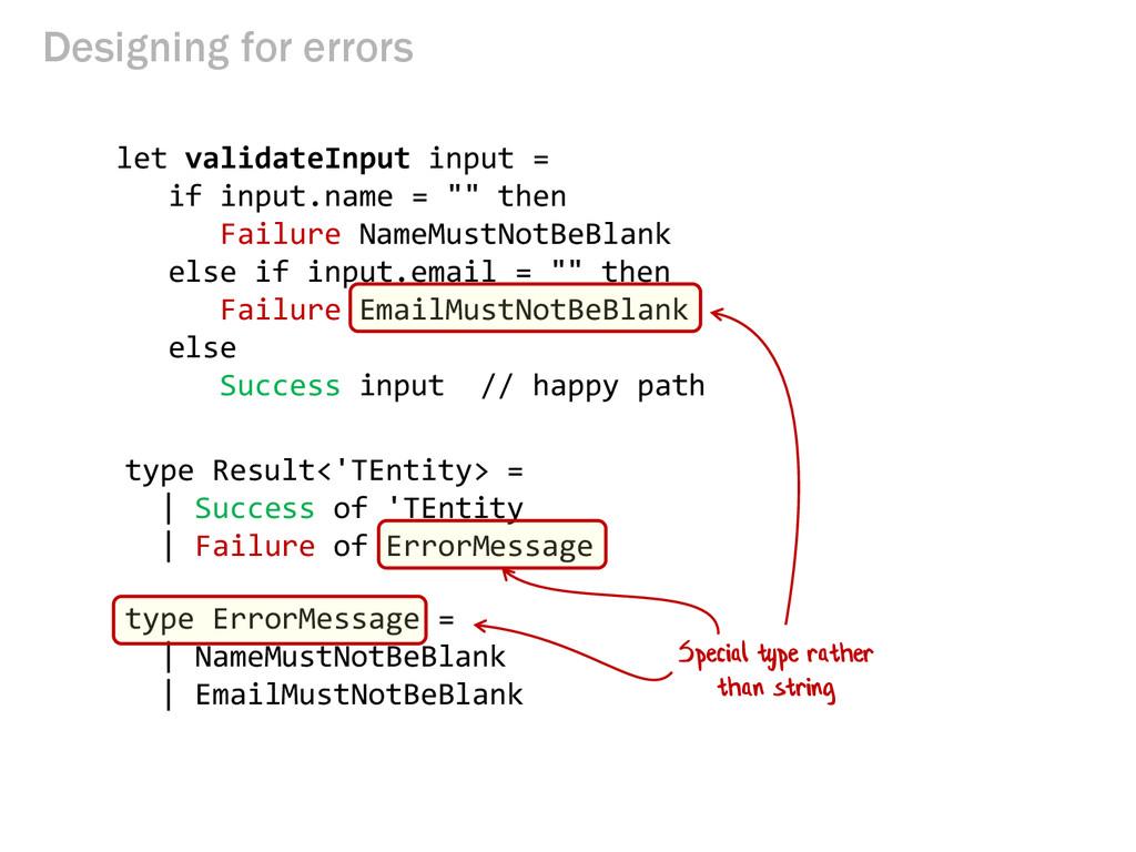 Designing for errors let validateInput input = ...