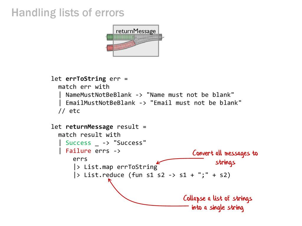 Handling lists of errors let errToString err = ...