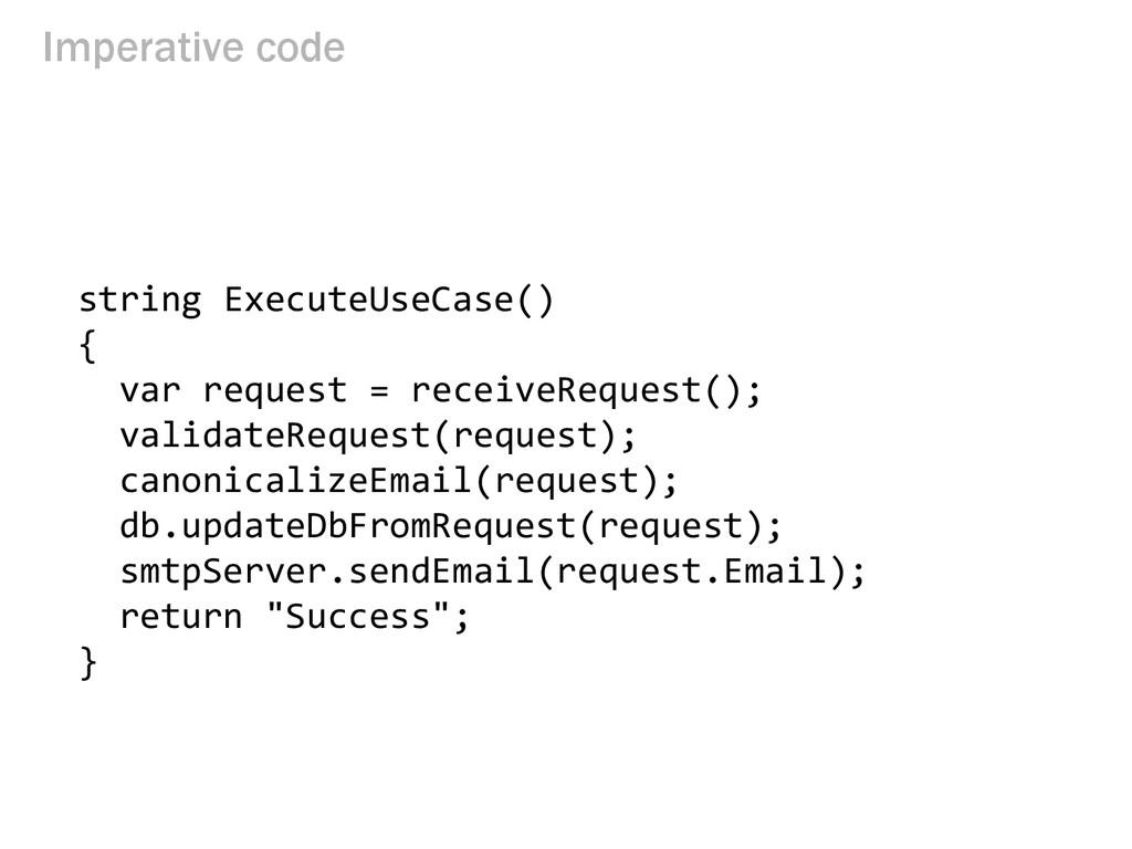 Imperative code string ExecuteUseCase() { var r...