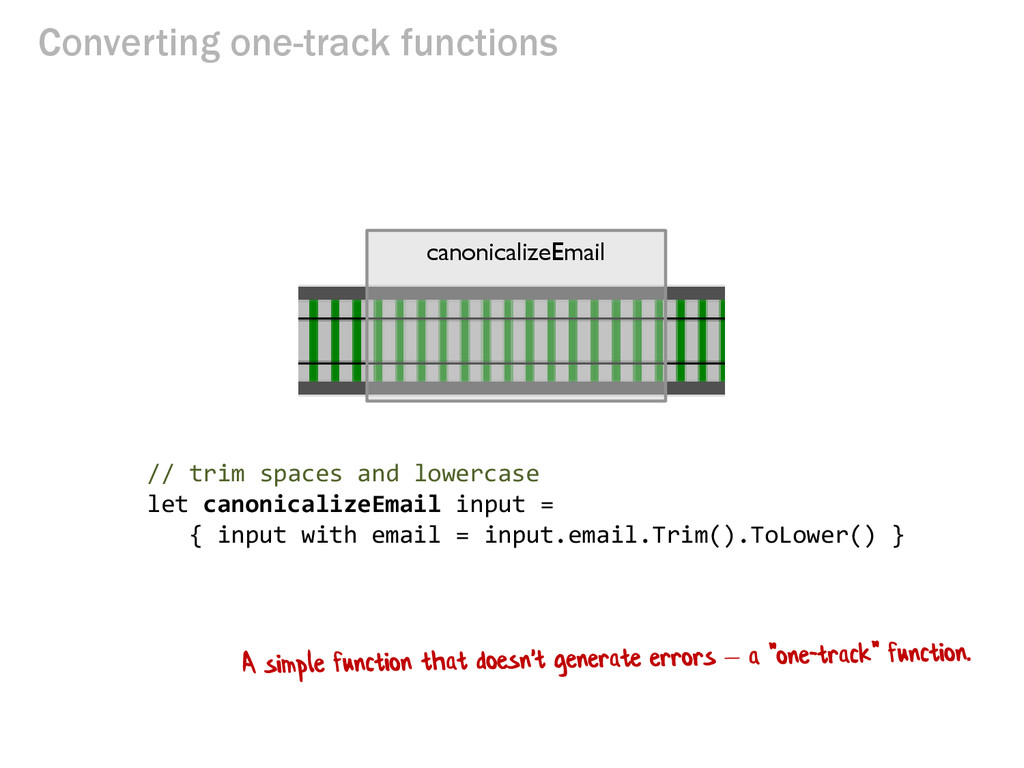Converting one-track functions // trim spaces a...
