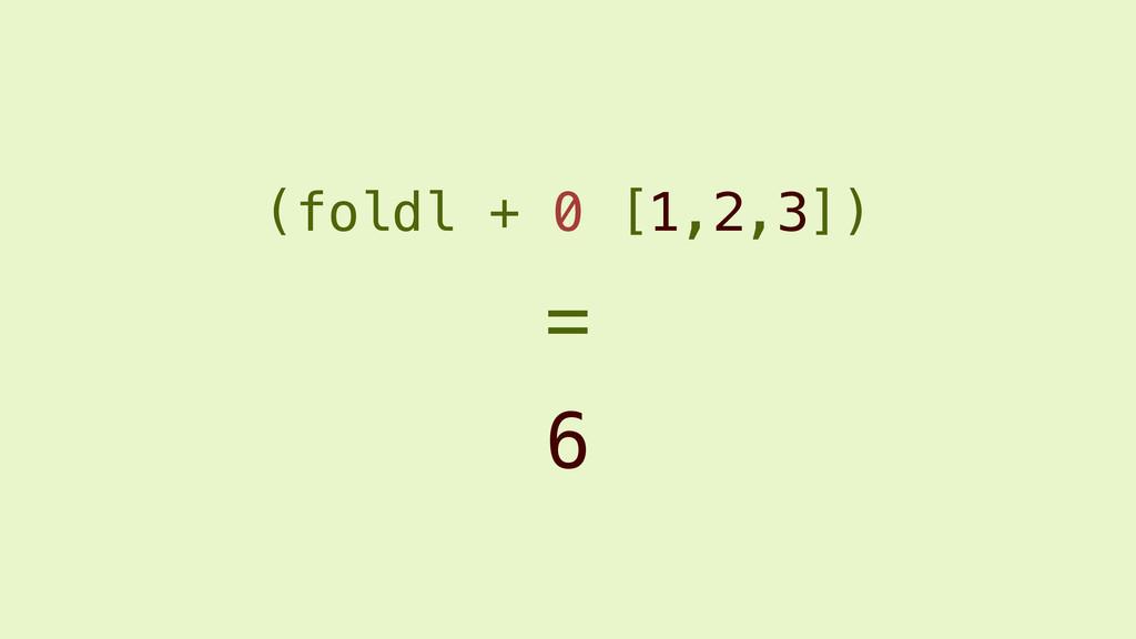 (foldl + 0 [1,2,3]) 6 =