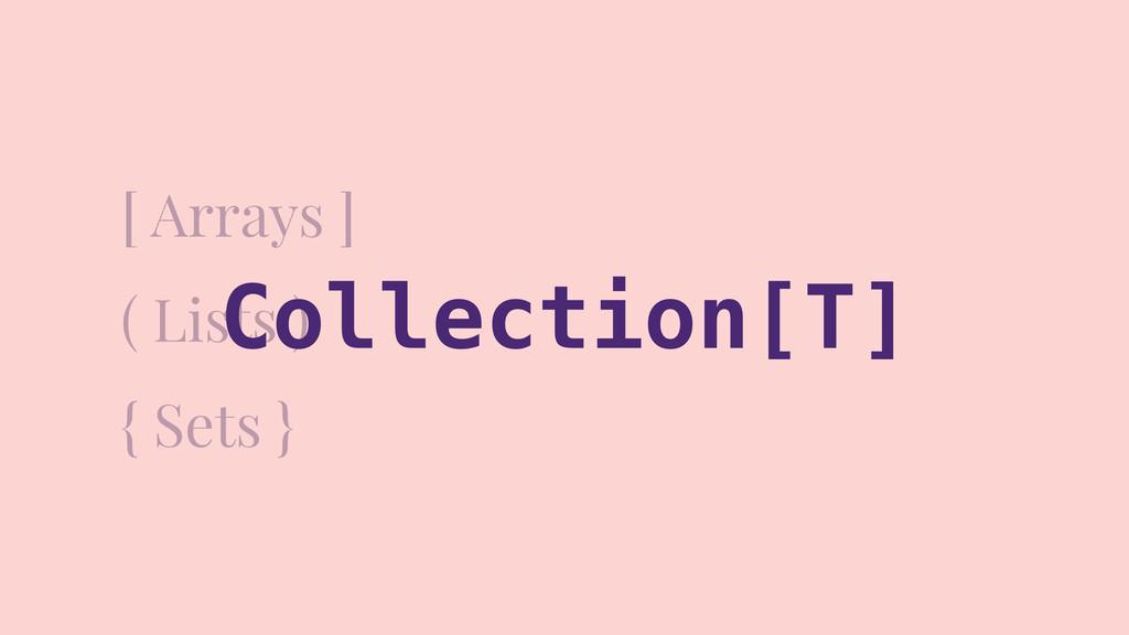 [ Arrays ] ( Lists ) { Sets } Collection[T]