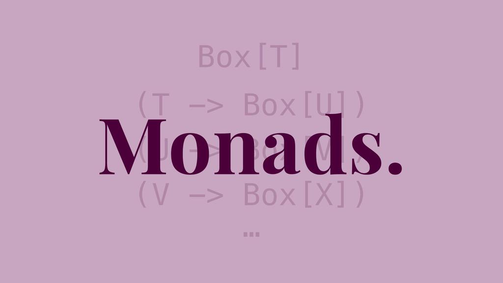 Box[T] (T -> Box[U]) (U -> Box[V]) (V -> Box[X]...
