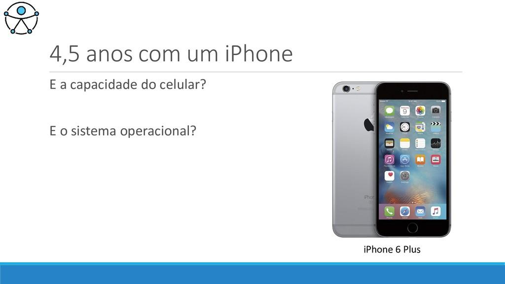 4,5 anos com um iPhone E a capacidade do celula...