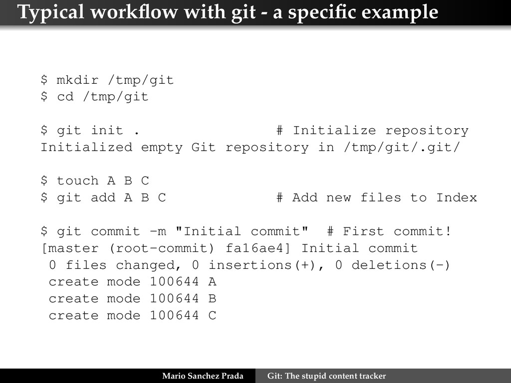 Typical workflow with git - a specific example $ ...