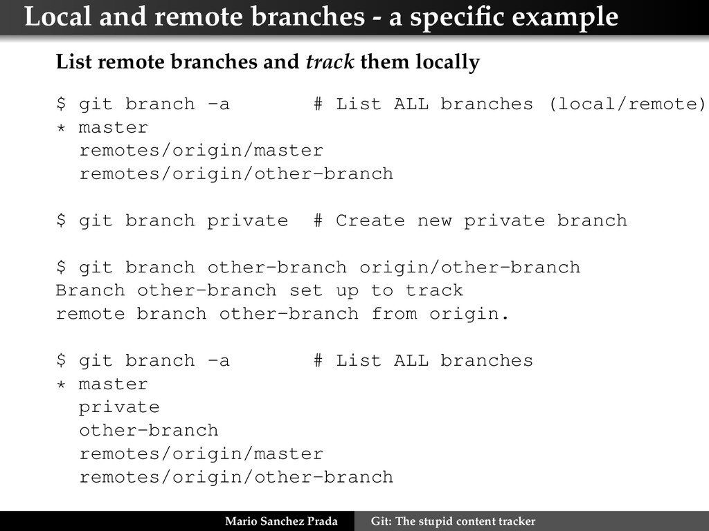 Local and remote branches - a specific example L...