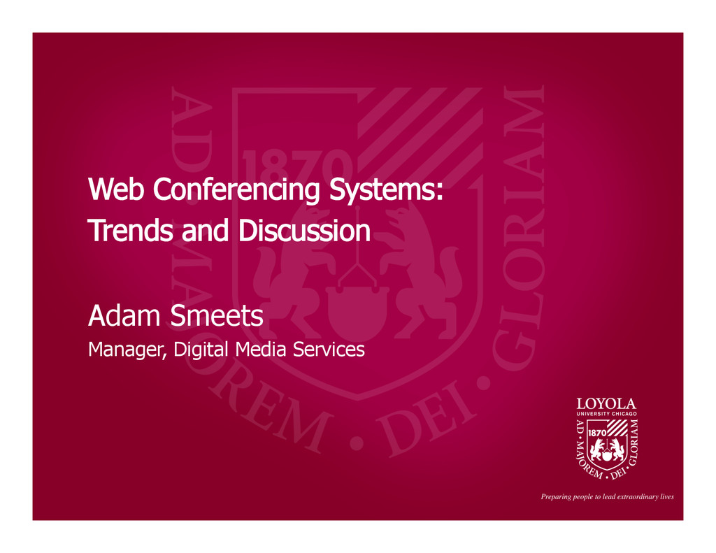 Adam Smeets Manager, Digital Media Services Web...