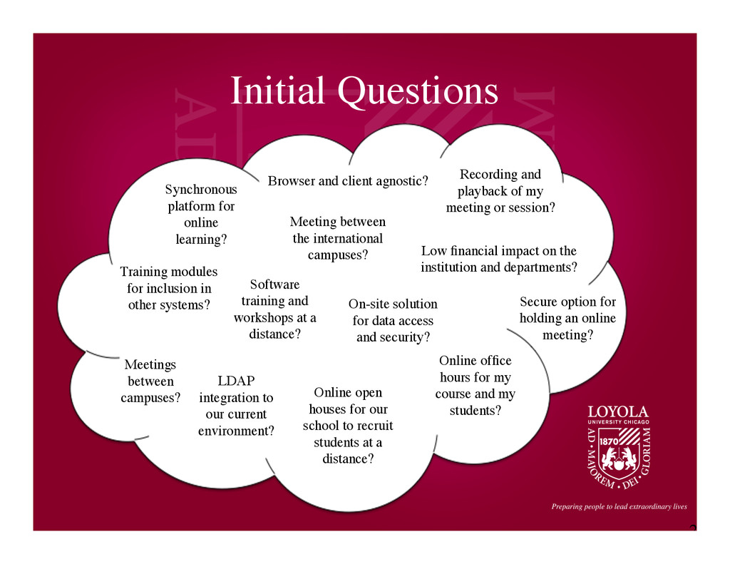 2 Initial Questions	 