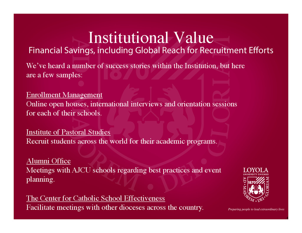 4 Institutional Value	 