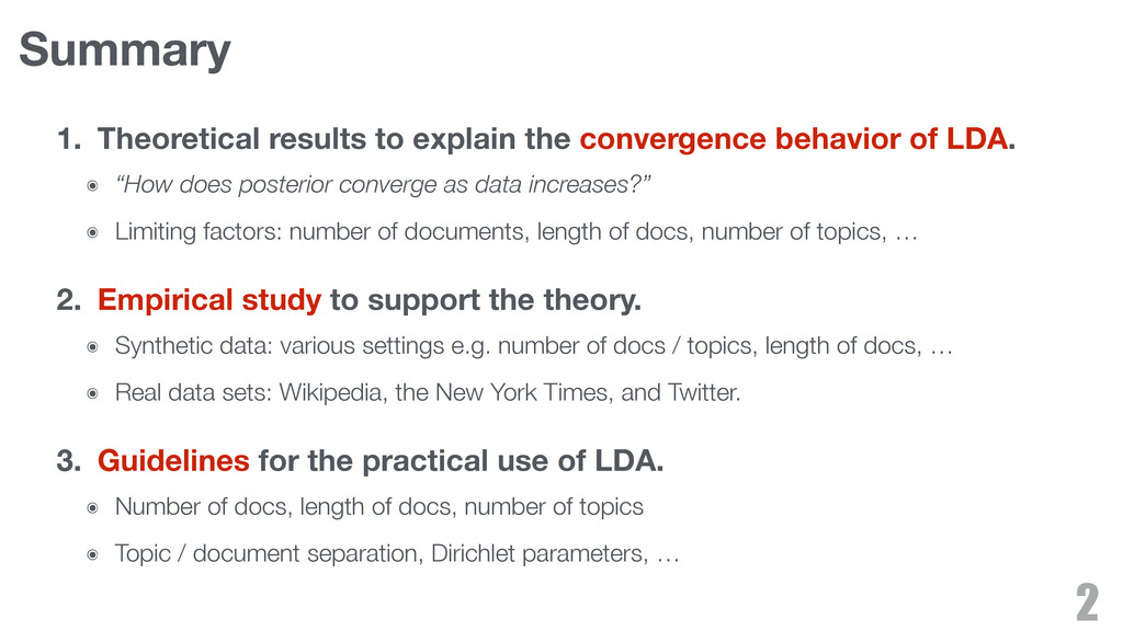 Summary 1. Theoretical results to explain the c...